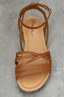 Zoila Tan Ankle Strap Flat Sandals 5