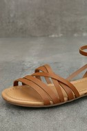 Zoila Tan Ankle Strap Flat Sandals 6