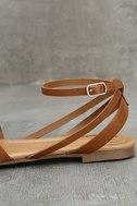 Zoila Tan Ankle Strap Flat Sandals 7