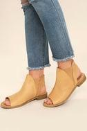 Musse & Cloud Ciara Tan Leather Peep-Toe Booties 2