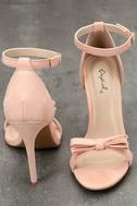 Babette Blush Suede Ankle Strap Heels 3