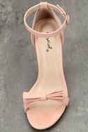 Babette Blush Suede Ankle Strap Heels 5