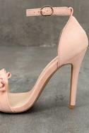 Babette Blush Suede Ankle Strap Heels 7