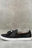 J Slides Cheyenne Black Leather Slip-On Sneakers 1