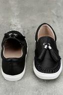 J Slides Cheyenne Black Leather Slip-On Sneakers 3