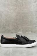 J Slides Cheyenne Black Leather Slip-On Sneakers 4