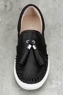 J Slides Cheyenne Black Leather Slip-On Sneakers 5