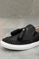 J Slides Cheyenne Black Leather Slip-On Sneakers 6
