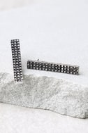 Building Blocks Silver Rhinestone Earrings 2