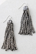 Royal Affair Gunmetal Beaded Tassel Earrings 2