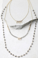 Everlasting Gold and Gunmetal Layered Necklace 2