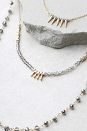 Everlasting Gold and Gunmetal Layered Necklace 3
