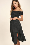 Late Nights Black and White Polka Dot Off-the-Shoulder Dress 3