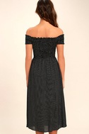 Late Nights Black and White Polka Dot Off-the-Shoulder Dress 4