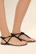 Sybil Black Suede Flat Sandals 3