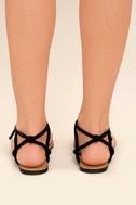 Sybil Black Suede Flat Sandals 4