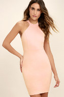 Endlessly Alluring Blush Pink Lace Bodycon Dress 3