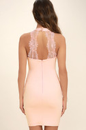 Endlessly Alluring Blush Pink Lace Bodycon Dress 4
