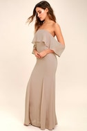 All My Heart Taupe Off-the-Shoulder Maxi Dress 2
