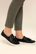 J Slides Cheyenne Black Leather Slip-On Sneakers 2