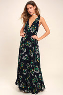 Remember the Days Navy Blue Floral Print Maxi Dress 2