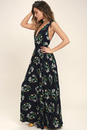 Remember the Days Navy Blue Floral Print Maxi Dress 3