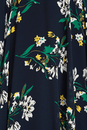 Remember the Days Navy Blue Floral Print Maxi Dress 6
