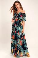 Infinite Love Navy Blue Print Off-the-Shoulder Maxi Dress 1