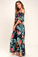 Infinite Love Navy Blue Print Off-the-Shoulder Maxi Dress 2