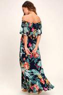 Infinite Love Navy Blue Print Off-the-Shoulder Maxi Dress 3