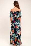Infinite Love Navy Blue Print Off-the-Shoulder Maxi Dress 4