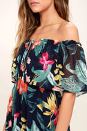Infinite Love Navy Blue Print Off-the-Shoulder Maxi Dress 5