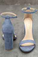 Taylor Blue Suede Ankle Strap Heels 3