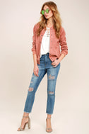 Home Run Blush Pink Suede Varsity Jacket 2