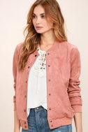 Home Run Blush Pink Suede Varsity Jacket 3