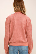 Home Run Blush Pink Suede Varsity Jacket 4