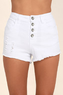 Others Follow Garden Grove White Distressed Cutoff Denim Shorts 5