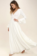 Enchanted Evening White Lace Maxi Dress 3