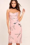 Keepsake Stolen Dance Blush Pink Print Midi Dress 3