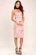 Keepsake Stolen Dance Blush Pink Print Midi Dress 2