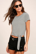 Classic Composition Black and White Striped Crop Top 1