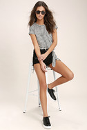Classic Composition Black and White Striped Crop Top 2