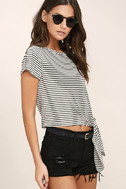 Classic Composition Black and White Striped Crop Top 3