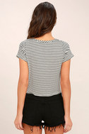 Classic Composition Black and White Striped Crop Top 4