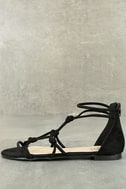 Rosabel Black Suede Gladiator Sandals 2