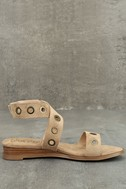 Coconuts Belize Natural Suede Wedge Sandals 4