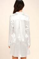 Boudoir Beauty White Satin Embroidered Shirt Dress 4