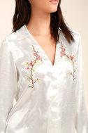 Boudoir Beauty White Satin Embroidered Shirt Dress 5