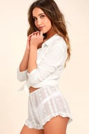 Sleeping In Sheer White Embroidered Shorts 4