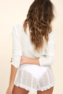 Sleeping In Sheer White Embroidered Shorts 5